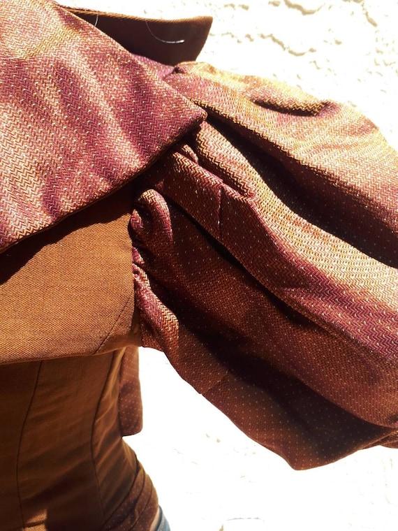 Antique Victorian 1890's Huge Mutton Sleeve Silk … - image 8