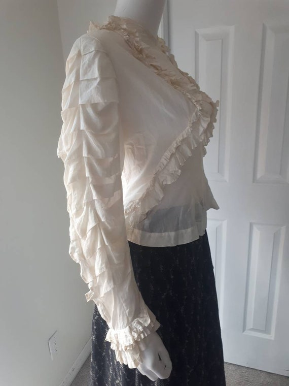 Rare Antique Victorian Prairie Ruffle Sleeve Whit… - image 3