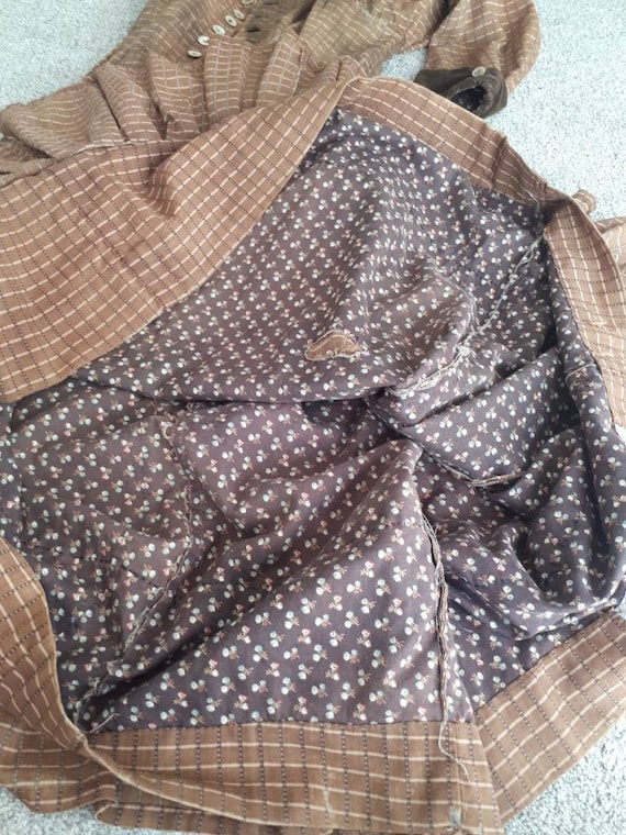 Antique 1800s Victorian Pioneer Calico Work Wrapp… - image 2