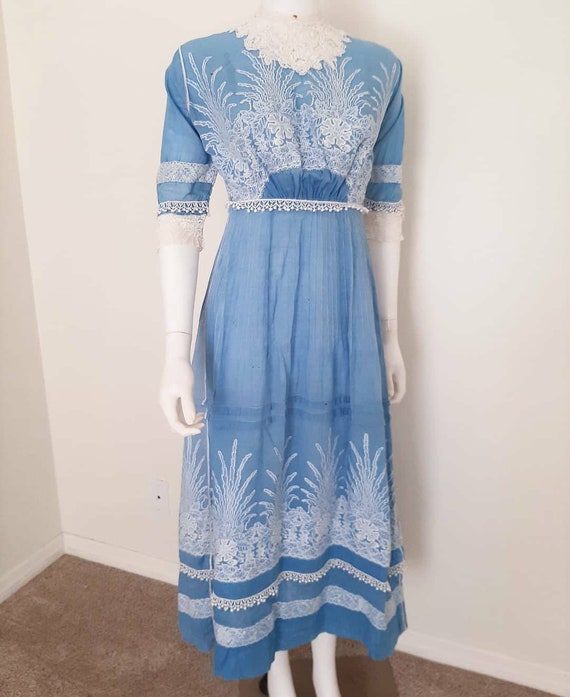 Antique Edwardian 1910 Blue Cotton Embroidered Cou