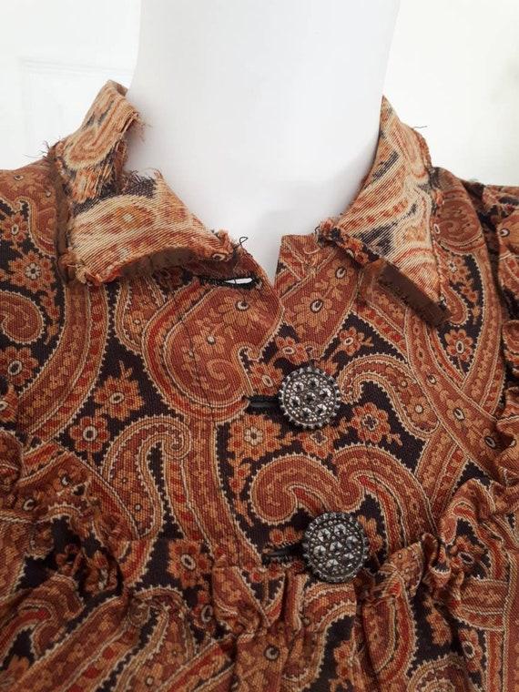 Antique Victorian 1890's Paisley Wrapper Dress Mu… - image 6