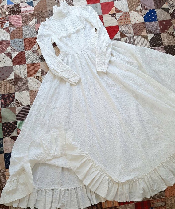 Vintage 1970s Laura Ashley Made In Wales White Edw