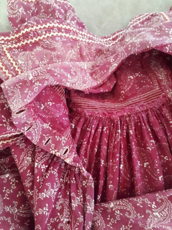 Antique Victorian 1890's Burgandy Paisley Calico … - image 6