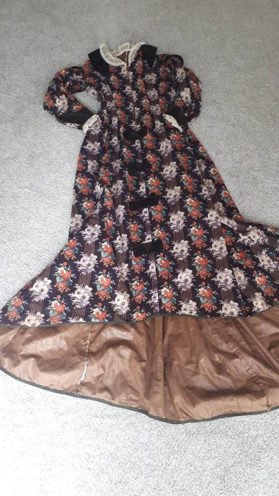 Antique Victorian 1880 Floral Calico Velvet Bow W… - image 5
