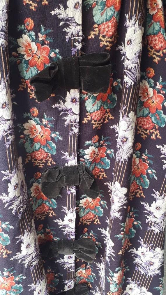 Antique Victorian 1880 Floral Calico Velvet Bow W… - image 7