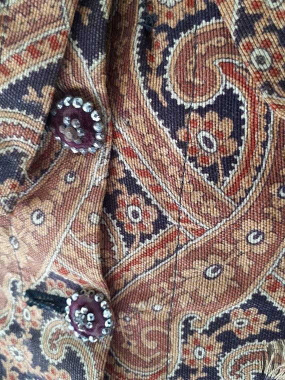 Antique Victorian 1890's Paisley Wrapper Dress Mu… - image 5