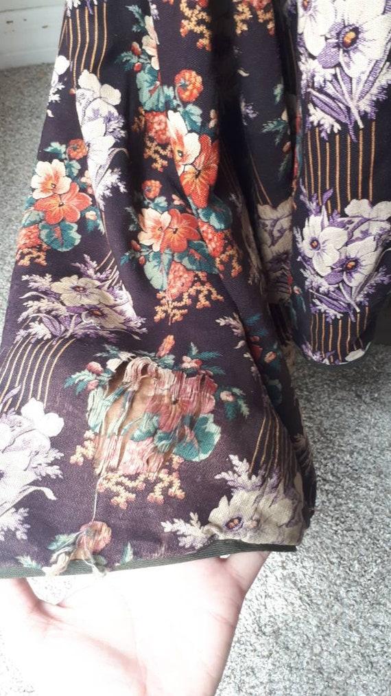 Antique Victorian 1880 Floral Calico Velvet Bow W… - image 10