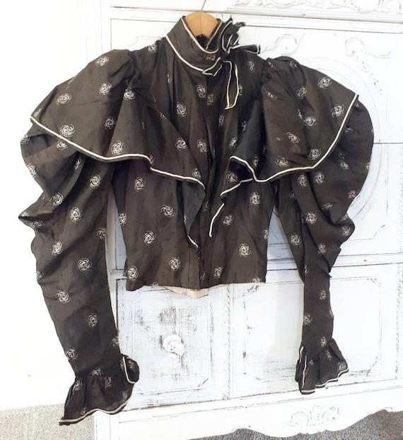 Rare Antique Victorian 1890s Silk Mutton Sleeve Bo