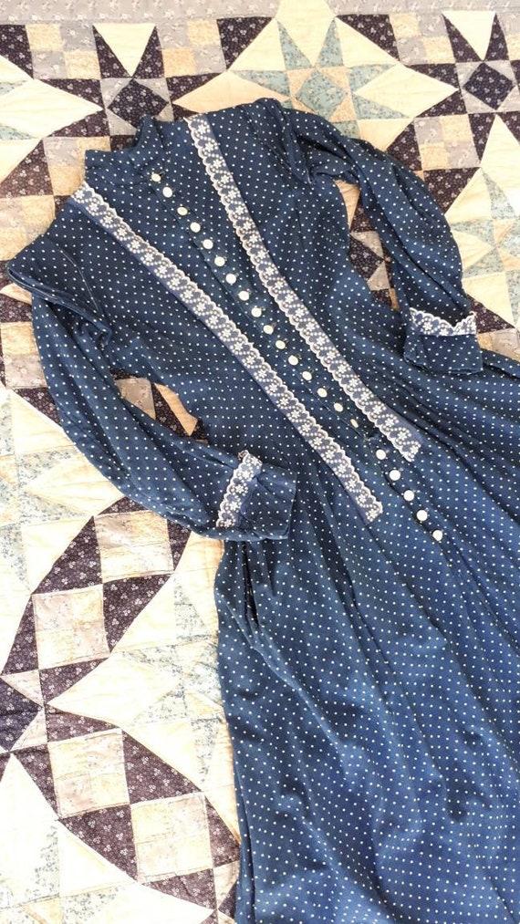 Rare Antique 1900 Victorian Indigo Calico Cotton … - image 7