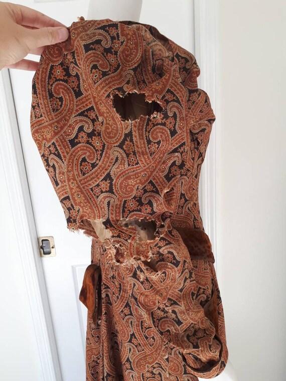 Antique Victorian 1890's Paisley Wrapper Dress Mu… - image 7