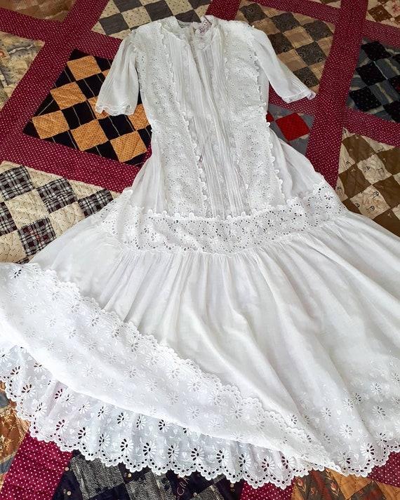 Antique Edwardian 1910's White Cotton Lace Afterno