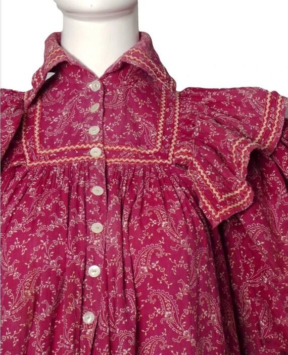 Antique Victorian 1890's Burgandy Paisley Calico … - image 9
