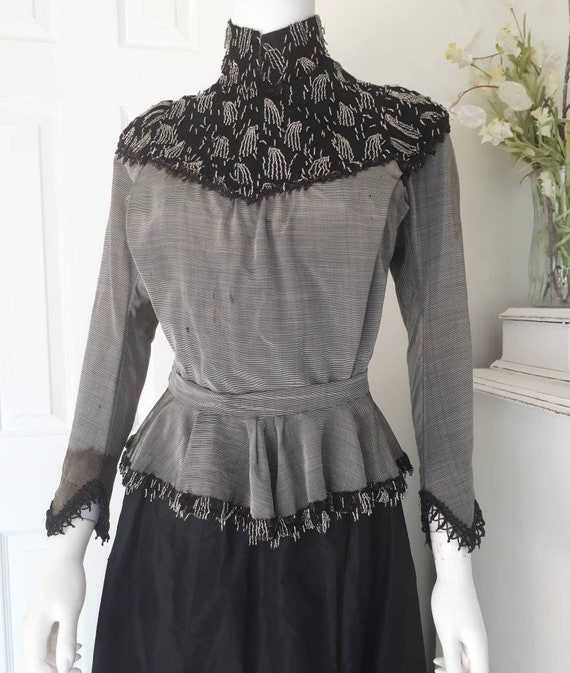 Antique Victorian Edwardian Grey Beaded Blouse Bod