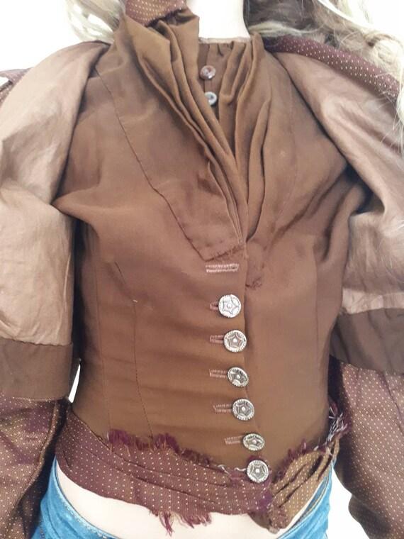 Antique Victorian 1890's Huge Mutton Sleeve Silk … - image 7