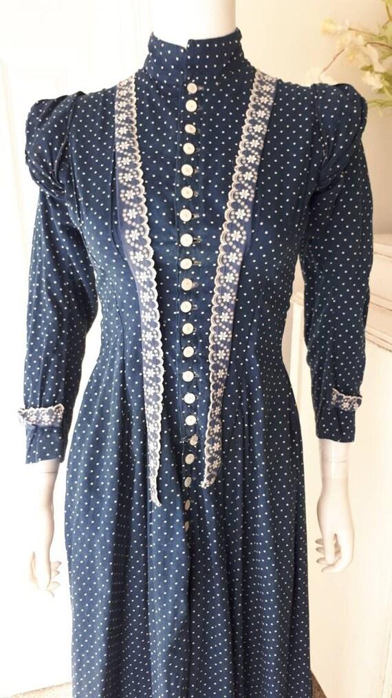 Rare Antique 1900 Victorian Indigo Calico Cotton … - image 4