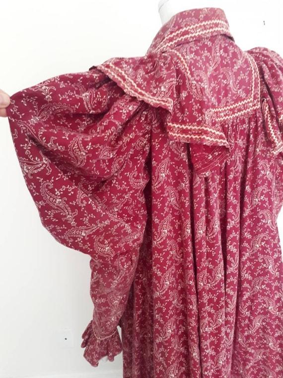 Antique Victorian 1890's Burgandy Paisley Calico … - image 3