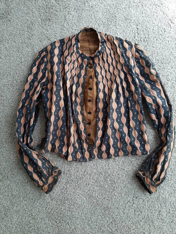 Antique 1800s Victorian Calico Pioneer Blouse