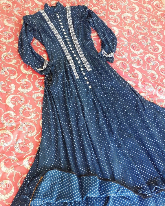Rare Antique 1900 Victorian Indigo Calico Cotton … - image 1