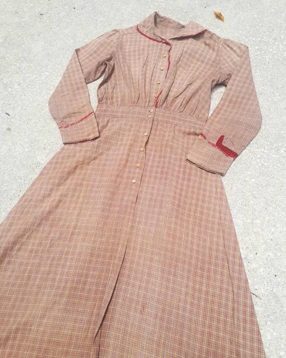 Antique Edwardian 1900s Cotton Plaid Chore Work Pr