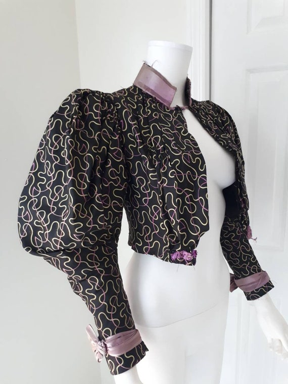 Antique Victorian Silk Blouse Boned Bodice Leg Mu… - image 1