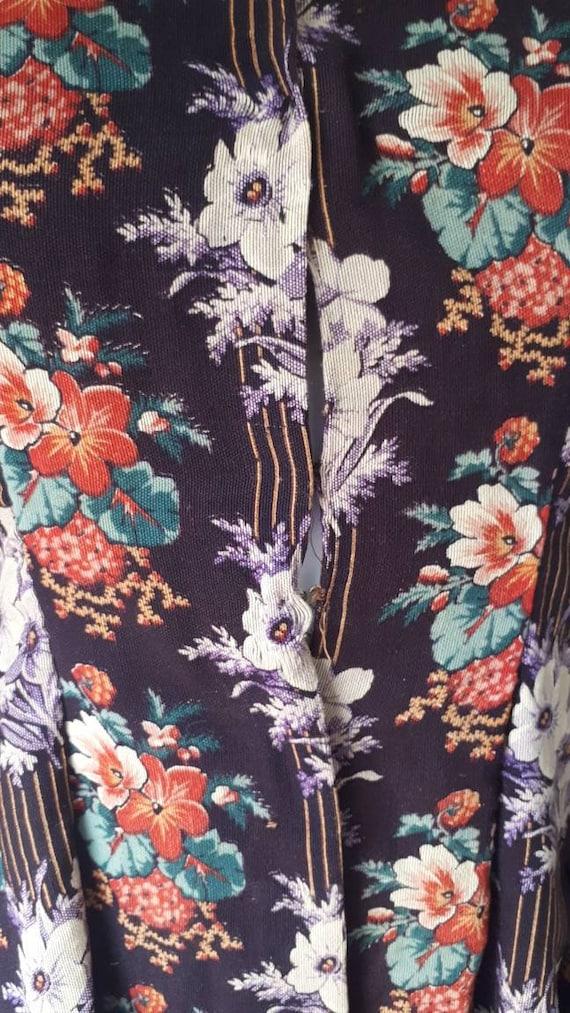 Antique Victorian 1880 Floral Calico Velvet Bow W… - image 9