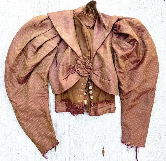 Antique Victorian 1890's Huge Mutton Sleeve Silk … - image 3