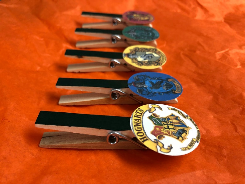 Harry Potter Clothespins  Magnets  Set of 5  Party Favors image 0