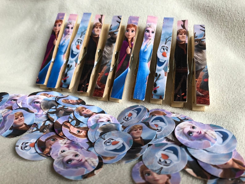 Frozen Two Party Package  10 Clothespins Plus 100 pieces image 0