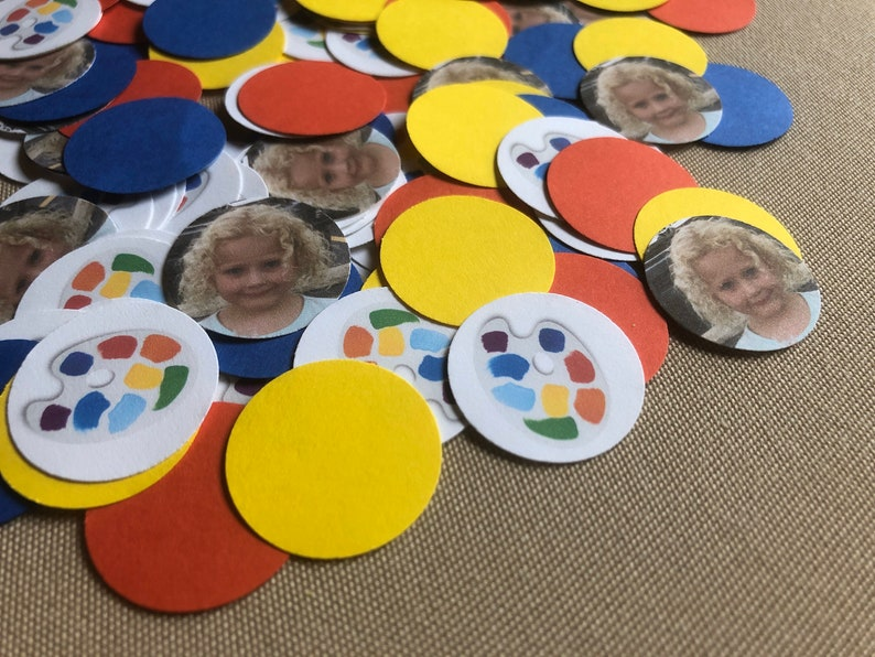 Art Party Confetti Birthday Party  150 Pieces 1 Inch Round  image 0