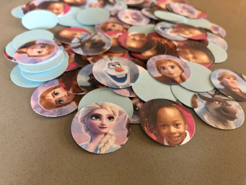 Frozen Two Photo Confetti Party  150 Pieces 1 Inch Round  image 0