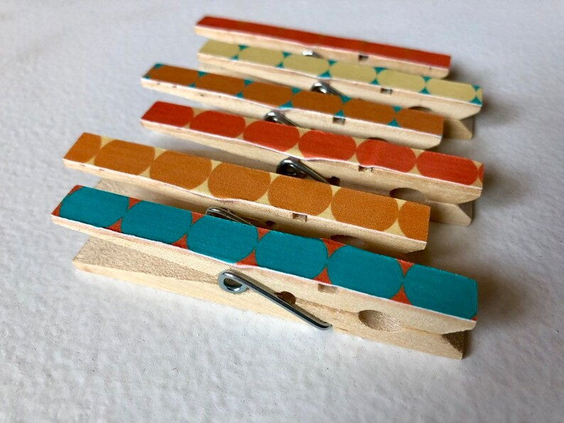 Modern Clothespin Magnets  Midcentury Mod Retro Design Magnet image 0