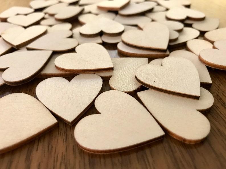 50 Blank Wood Hearts   1 inch / 30 mm   Wedding Table image 0