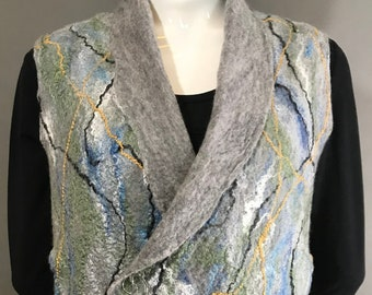 Gray Wool Wet Felted Vest with Silk Blue and Green Fibers Accents - Side Pockets - Bust size 40 inches - Petite Length 26 inches Size M/L