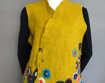 Mustard Yellow Gold Wet Felted Merino Wool Vest with polka dot accents and cozy side pockets. US size 19 A-line cut - Skin Soft not itch!