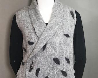 Gray Merino Wool Wet Felted Vest with deep side pockets. Gray Merino Wool with Black Leaf accents Size US 14 - Gray Merino Wet Felted Vest