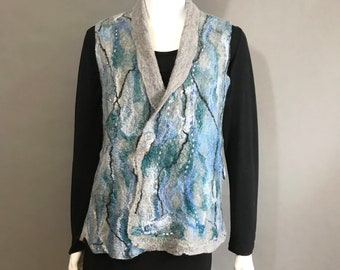 Gray Wool Wet Felted Vest with Silk Bluegreen Fibers Accents - Side Pockets - Bust size 40 inches - Size M/L