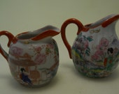 Vintage Japan Creamer Set, Qty 2, Tea, Coffee, Red White Satsuma Decor, Shipping Included