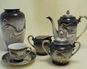 Vintage Dragonware Tea Set, Nippon, Meiyo China, Sugar Bowl, Creamer, Teacup, USA SHIPPING INCLUDED