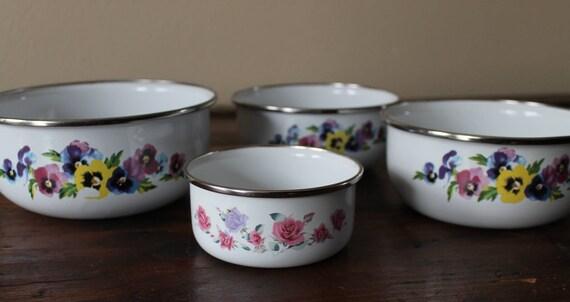 4 bols de table de mixage GMI, émail bols, bols de cuisine Vintage, lave vaisselle, bols de nidification, l'usine bols