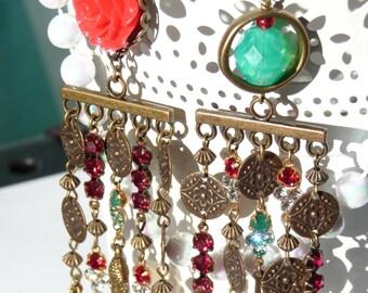 Buddha Peace & Love Chandelier Long Earrings - Light Weight - Mismatched Earrings - Red Flower - Handmade Gift - Zen - For Her