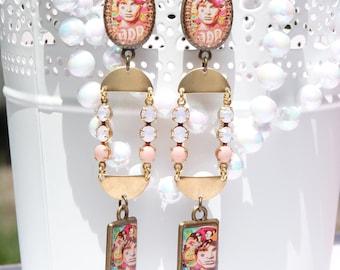 The Doors Handmade Resin Dangle Earrings - Music Earrings - Hippie - Psychedelic Jewelry - Jim Morrison - Blues Rock - The Doors Jewerly
