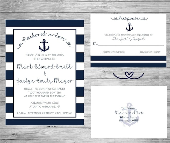 Nautical Wedding Invitation - DIY - Printable  Wedding Invitation