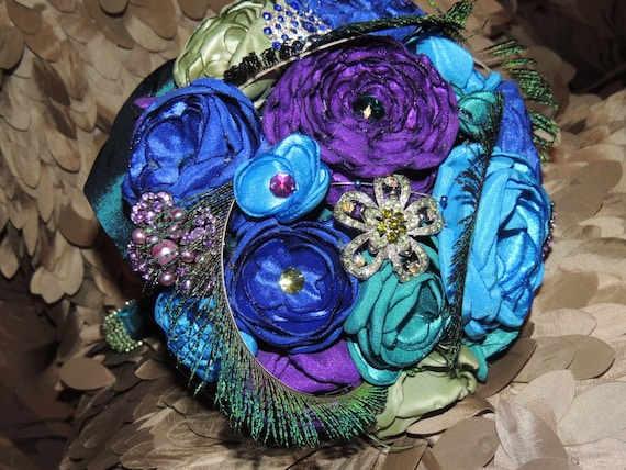 Fabric Flower and Brooch Bouquet / Bridal Bouquet / Peacock Bridal Bouquet