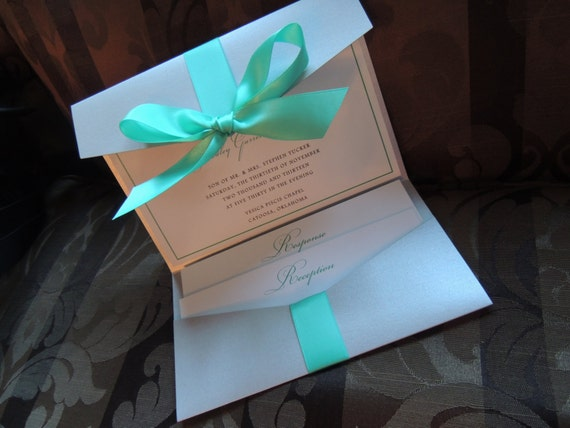 Gray & Aqua / Turquoise Wedding Invitation