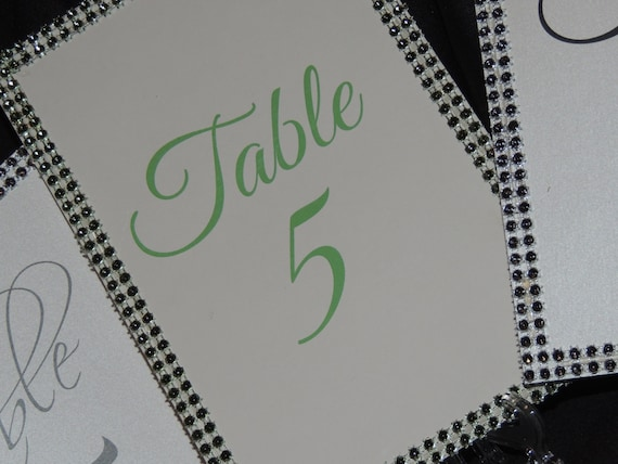 Bling Table Numbers - Rhinestone Banding