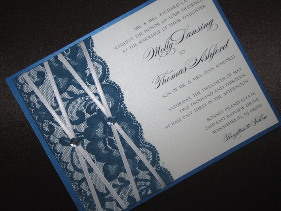 Lace Wedding Invitation - Custom Colors Available