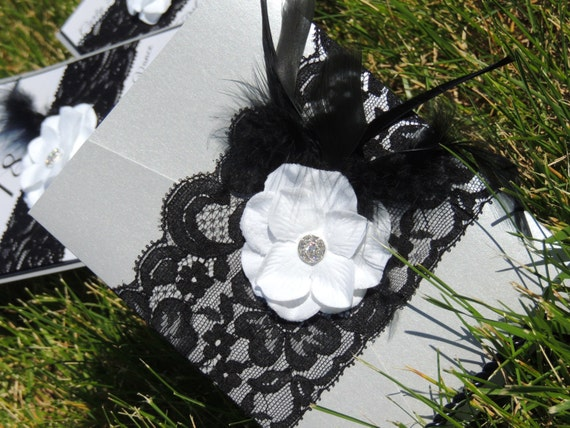 Black and Silver Lace Feather Invitation