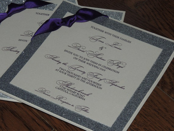 Glitter Wedding Invitation - Plum and Silver Wedding Invitation