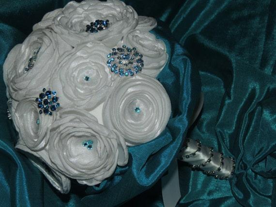 Turquoise / Aqua Bridal Bouquet // Fabric Wedding Bouquet