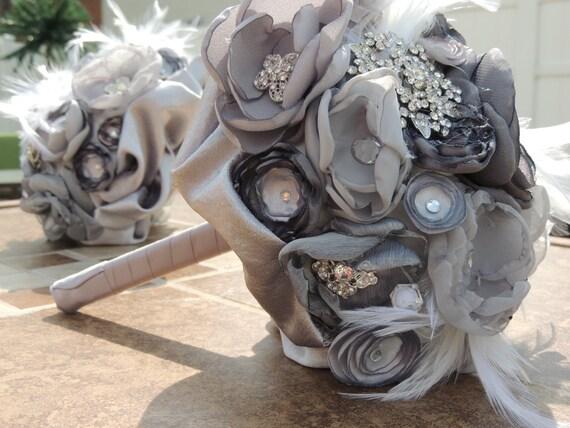 Fabric Flower and Brooch Bouquet / Bridal Bouquet / Silver Bridal Bouquet